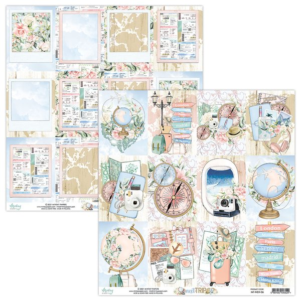 Mintay Papers- NEXT TRIP 06- 12X12 Double Sided Cardstock