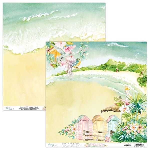 Mintay Papers- PARADISE 01- 12X12 Double Sided Cardstock