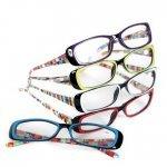 DEI Designer Reading Glasses w/Case Multi Color with Purple Frame