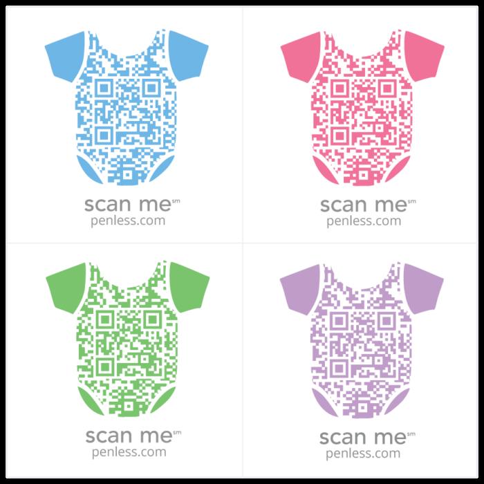 Penless 4UP Onsie Stickers-QR Codes