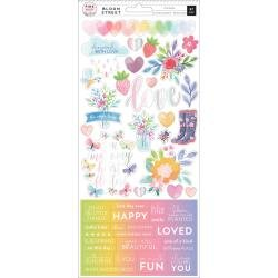 Pink Paislee Paige Evans Bloom Street Cardstock Stickers 6X12 W/Iridescent Foil Accents