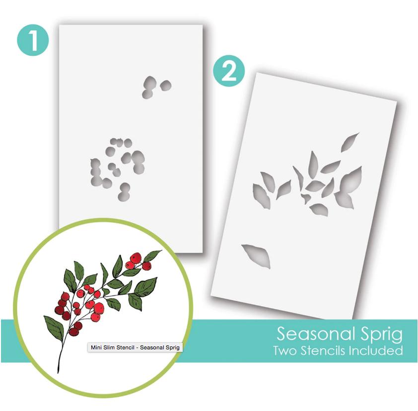 Taylored Expressions Mini Slim Stencil - Seasonal Sprig