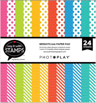PhotoPlay Dbs-Sided Paper Pad 6X6 24/Pkg Say It With Stamps Brights Dots/Stripes
