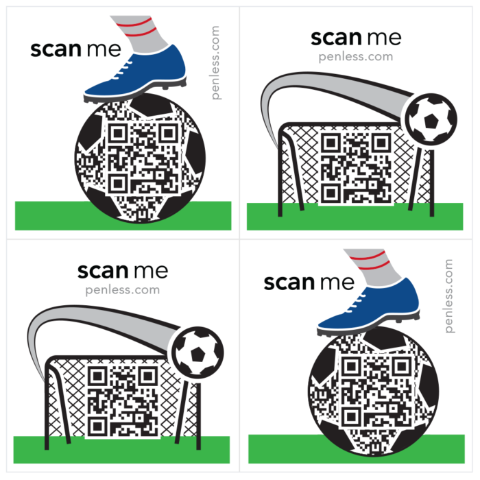 Penless 4UP Soccer Stickers-QR Codes