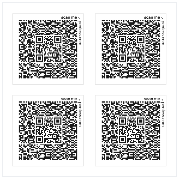 Penless 4UP Black Square Stickers-QR Codes