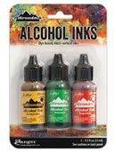 Tim Holtz Alcohol Ink .5oz 3/Pkg Conservatory-Honeycmb/Botanical/Poppyfld
