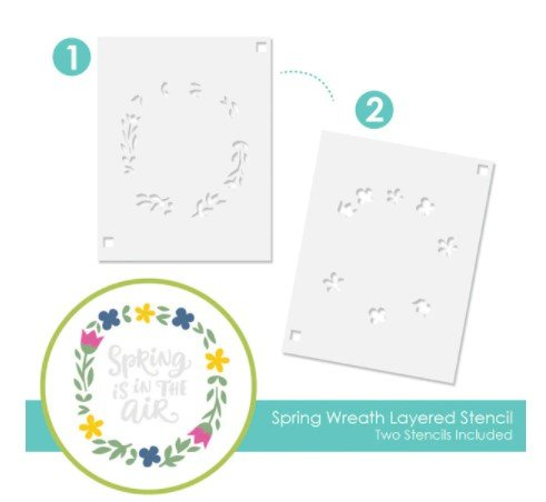 TAYLORED Expressions Layered Stencil-Spring Wreath Layering Stencil