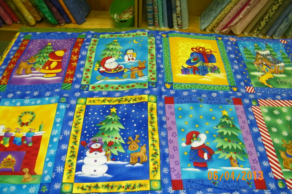 Suzie Q Christmas Panel by Fabri-Quilt #7659 100% Cotton
