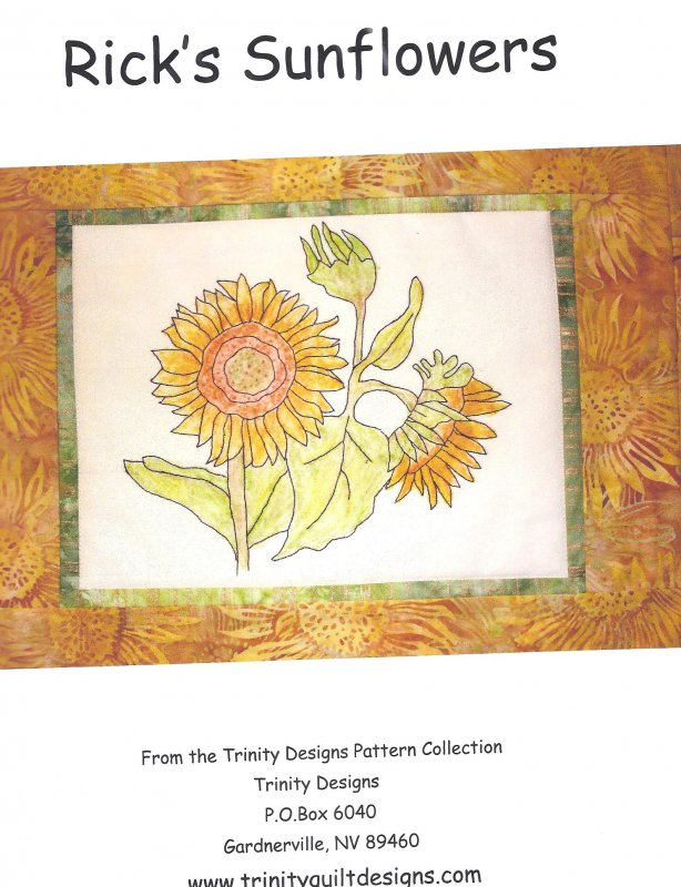 Rick's Sunflowers  Embroidery and  Crayon  Pattern by Trinity Designs