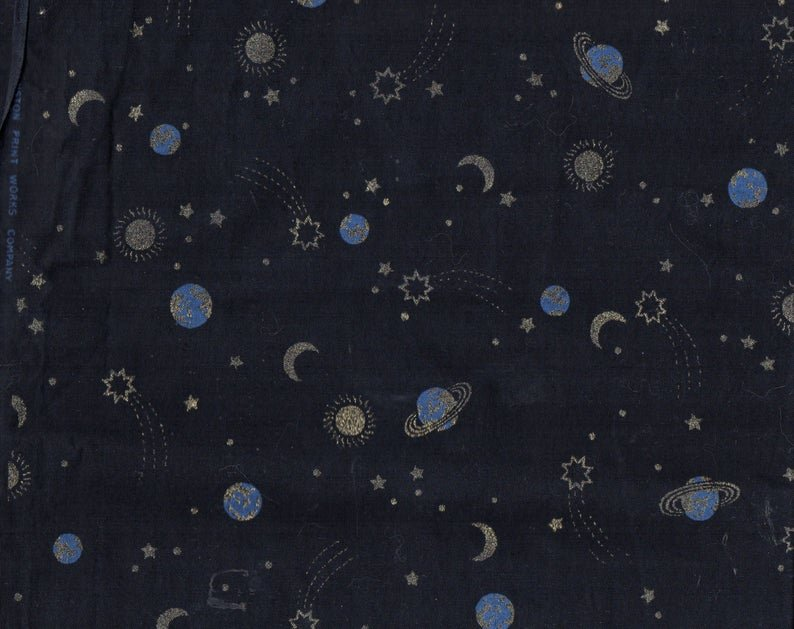 Planets Stars Moons Comets Night Skies on Dark Navy Metallic Gold -