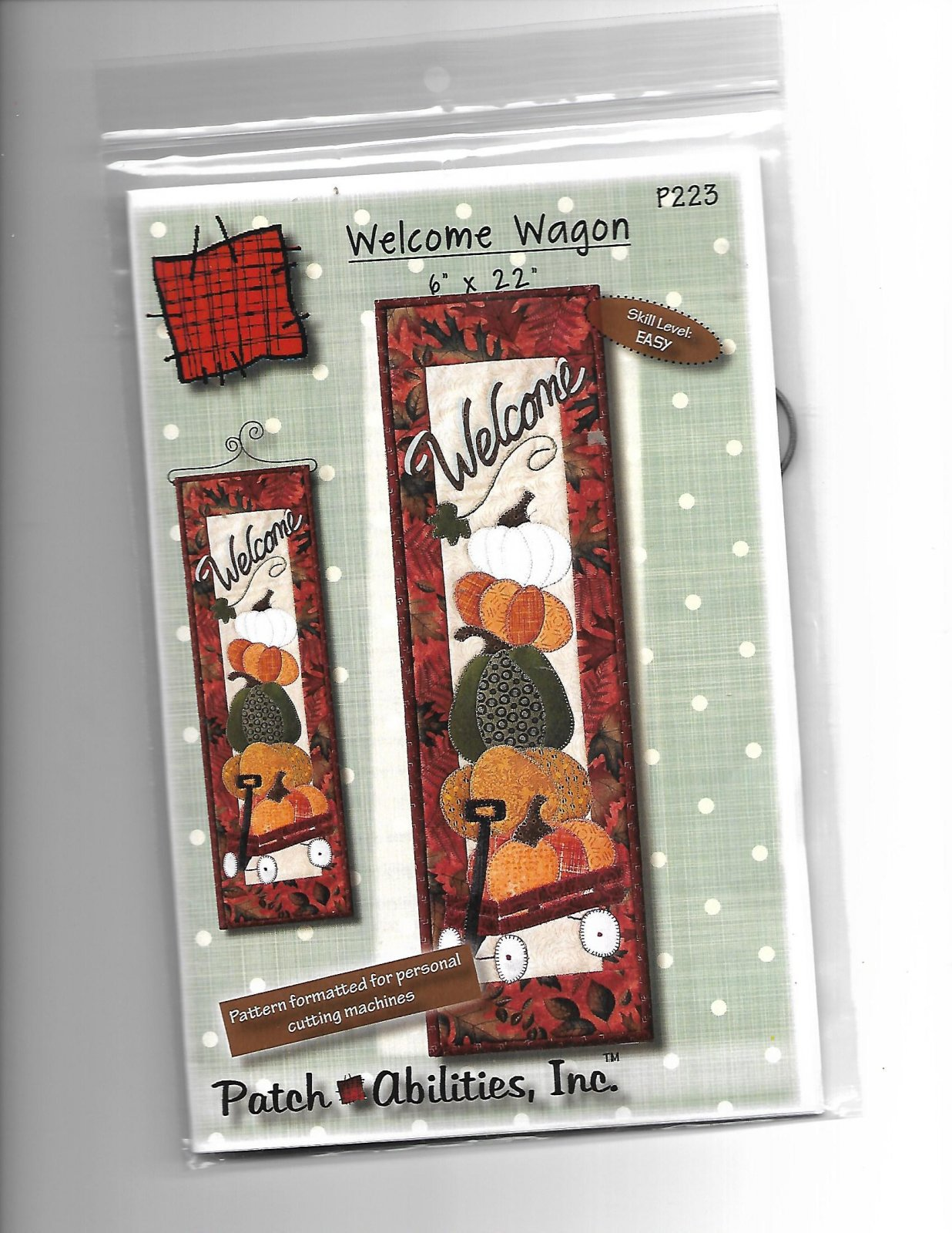 Welcome Wagon P 223  Pattern & hanger