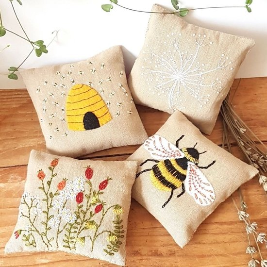 Linen Lavender Bags Embroidery Kit