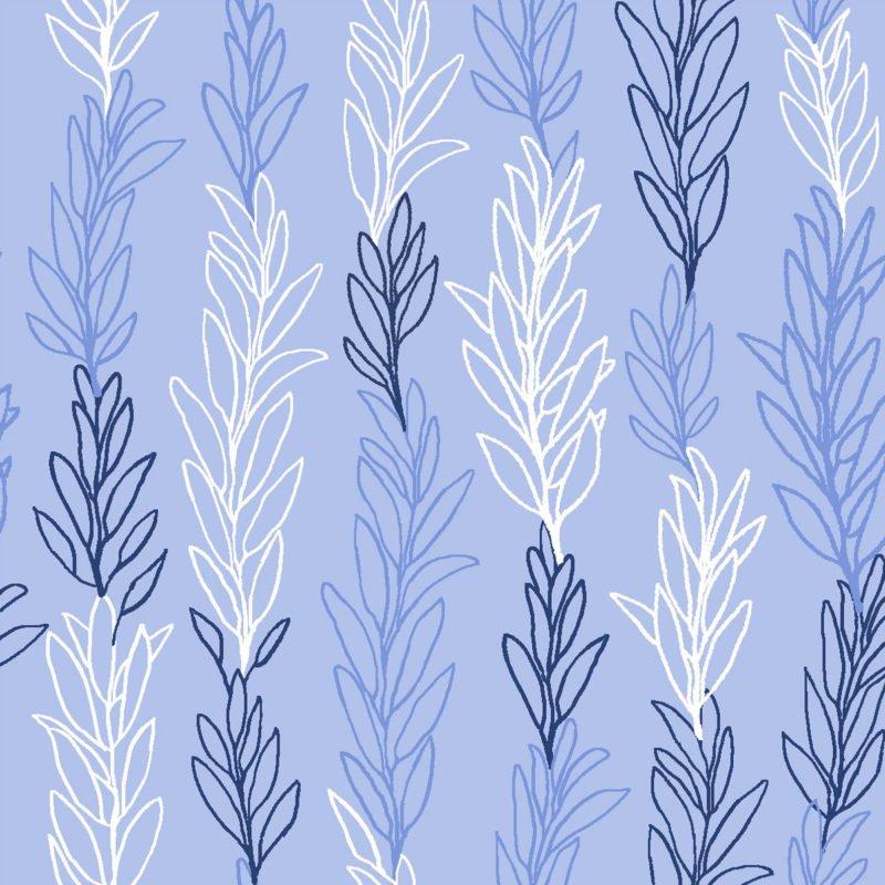 Minight Garden Vine Stripe Blue Tone