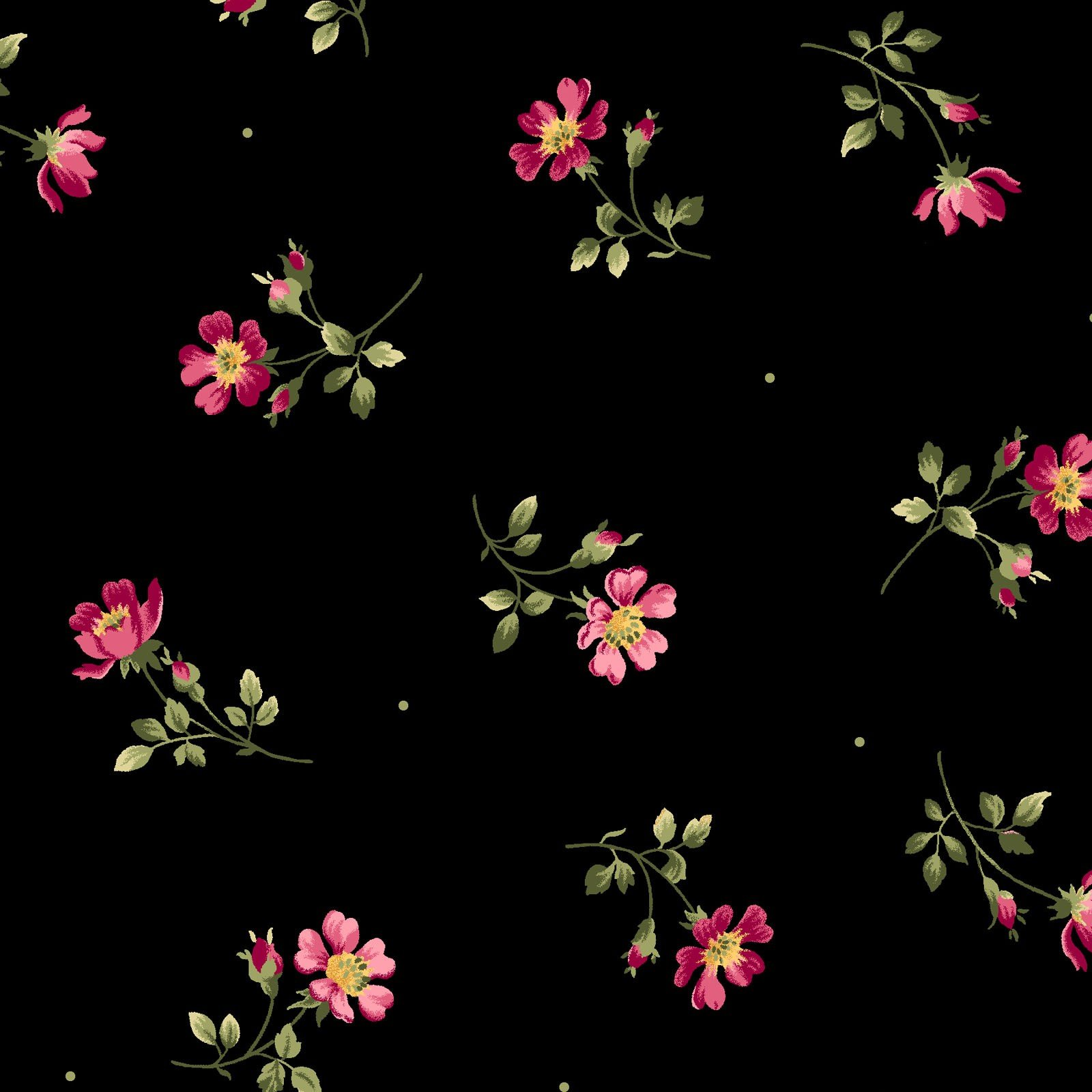 Wild Rose Flannel Black Small Floral
