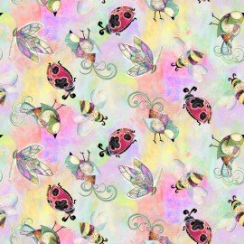 3 Wishes In the Meadow 3WI14493-MUL  Digital ladybugs, bees, birds on pastels