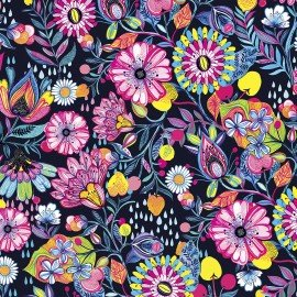 3 Wishes Magic Garden 3WI14650-NAV  Large multi-flowers on Navy