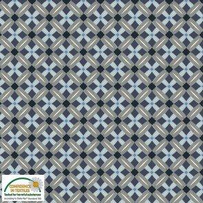 Blank Quiltitng STOFF S-Bubblegrid 4503-398 cross over black on blue