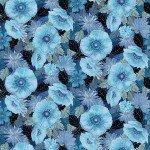 Benartex Moonlit  Poppies  0542250B Blue