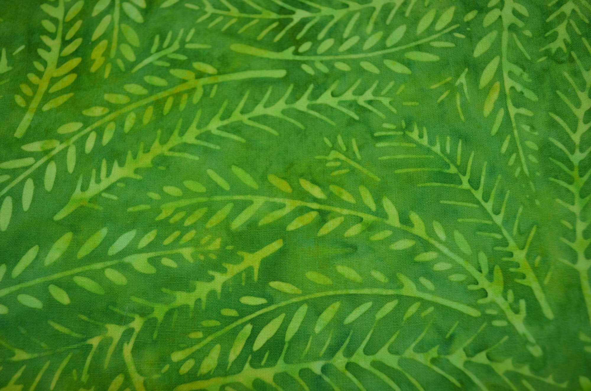 Batavian Batiks Green Fern Leaves