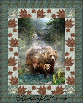 Bears and Paws Panel Pattern CJC-51761 Costellija Patterns 52x64
