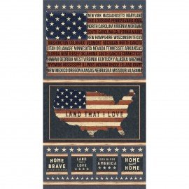 Clothworks Land That I Love CLTY2412-55 Panel 2/3Yd.