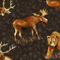 Clothworks Open Sky CLTY2451-16 Dark Brown Tossed Animals