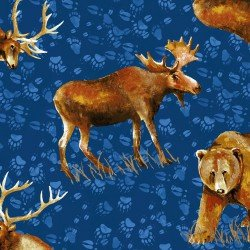 Clothworks Open Sky CLTY2451-31 Royal Blue Tossed Animals