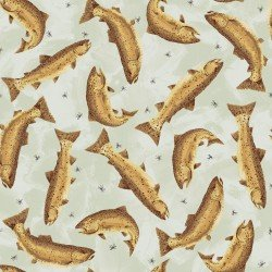 Clothworks Open Sky CLTY2452-61 Light Taupe tossed Fish