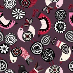 Clothworks Birds & Blooms  CLTY2463-48 Wine Tossed birds on Plum