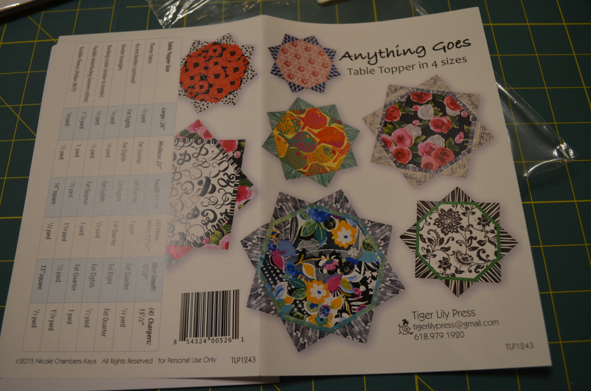Anything Goes Table Topper in 4 Sizes Pattern TLP1243