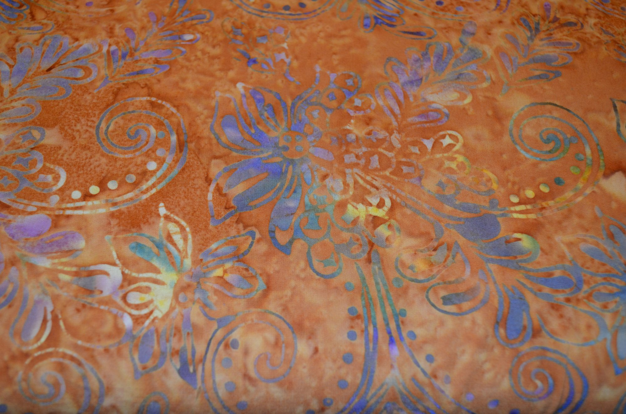Batik Textiles 3942 Waters Edge Rust with Pink Blue Flowers