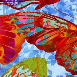 In The Beginning Dreamscapes II IBFDRT1JYH-2 Red Butterflies on Blue