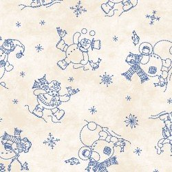 Maywood Roly-Poly Snowmen  MAS8413-E Blue snowmen on Cream