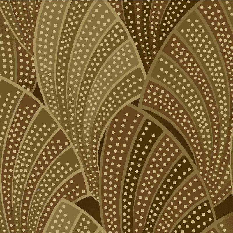 Oasis Fabrics Romance Gold Metallic Fans OA-6014701