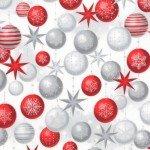 Robert Kaufman Winter's Grandeur 6 SRKM17327277 Red & Silver ornaments on White