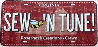 2018 RXR-Sew Bee'n Tune- License Plate