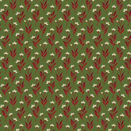 Very Very Tiny Leaf Floral Print drk rose on rose Fabric by Marcus Brothers