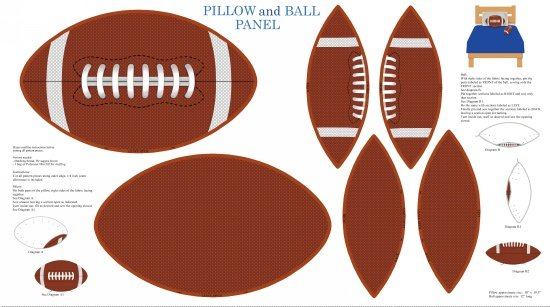 Touch Down-Football pillow & ball panel - white