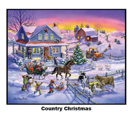 Country Christmas-Digital Panel-36x 42