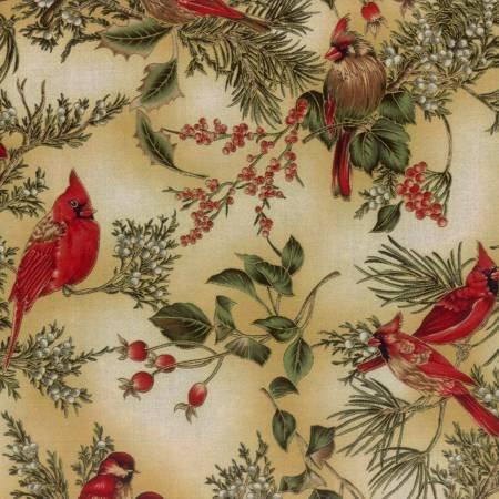 Classics-Cream Cardinals on Branches w/Metallic