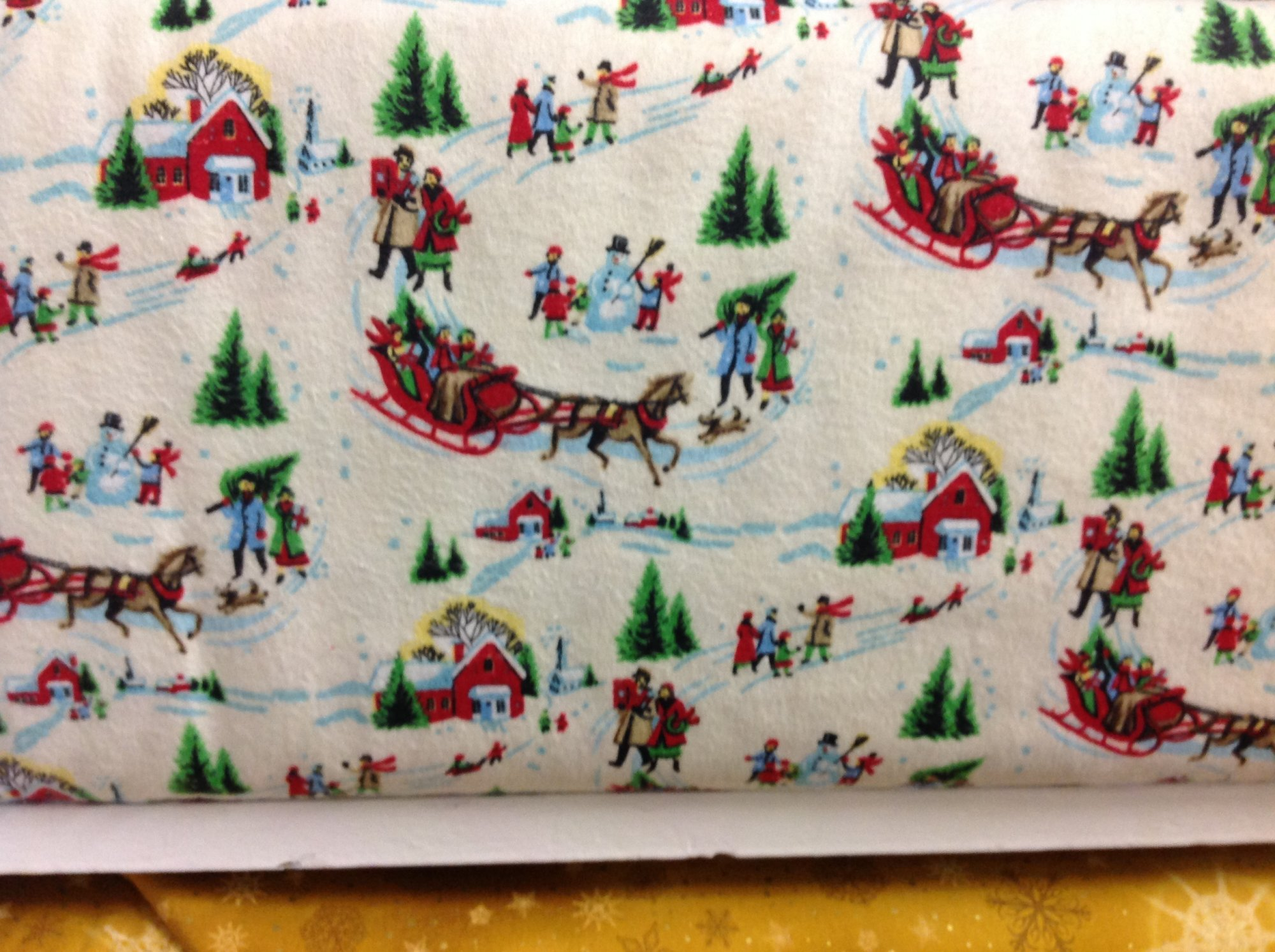 Winter Theme Flannel-Horse Drawn Sleig