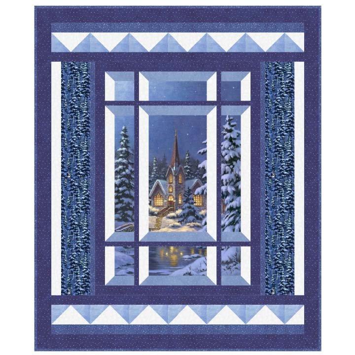 Modern Window-(uses Silent Night Fabric)