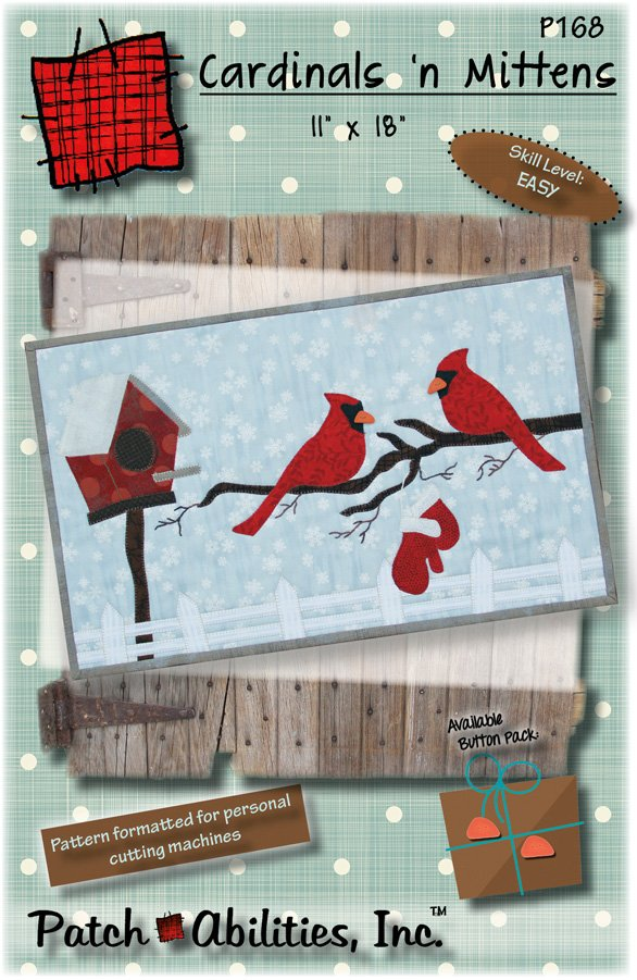 P168 Cardinals n Mittens - Pattern with Buttons & Fabric Kit