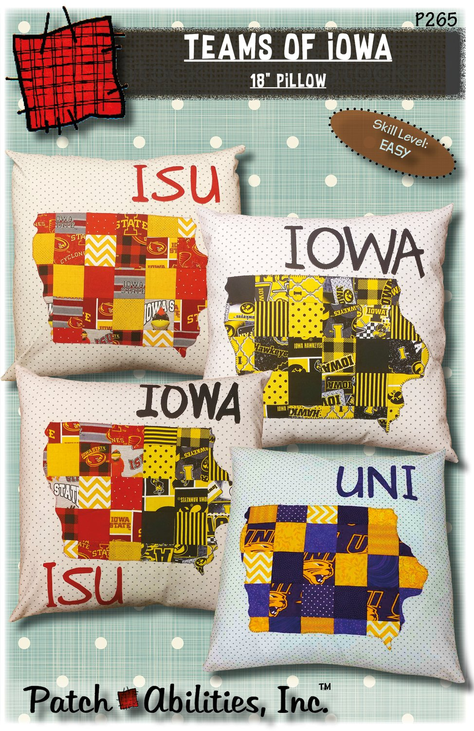 P265 Pillow Teams of Iowa Pattern