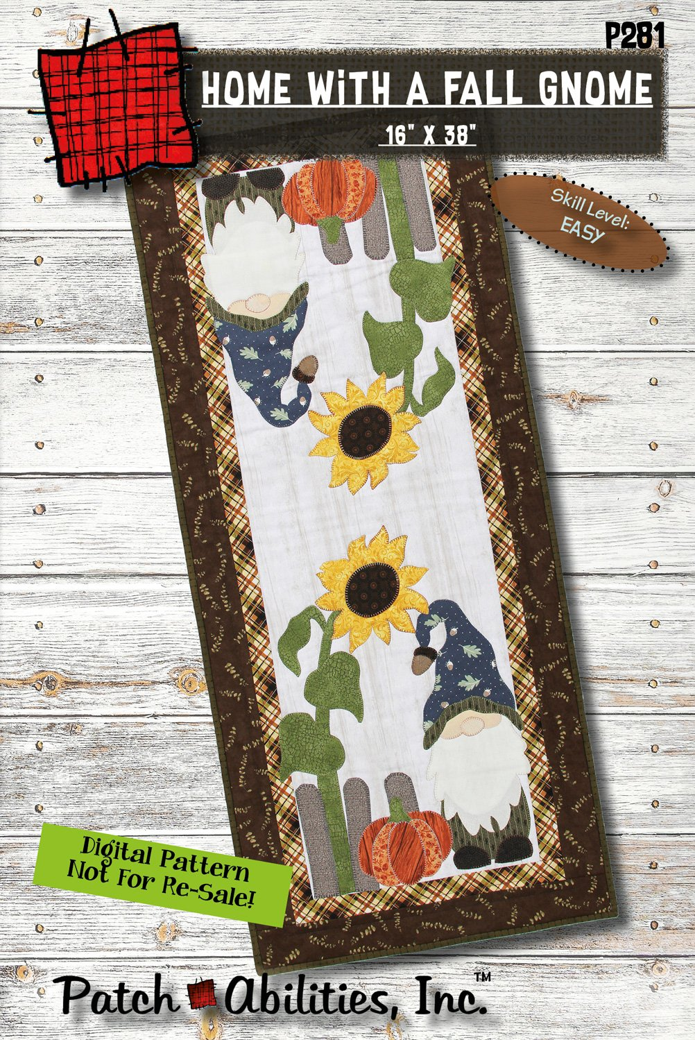 P281 Home With A Fall Gnome Runner DIGITAL DOWNLOAD PATTERN