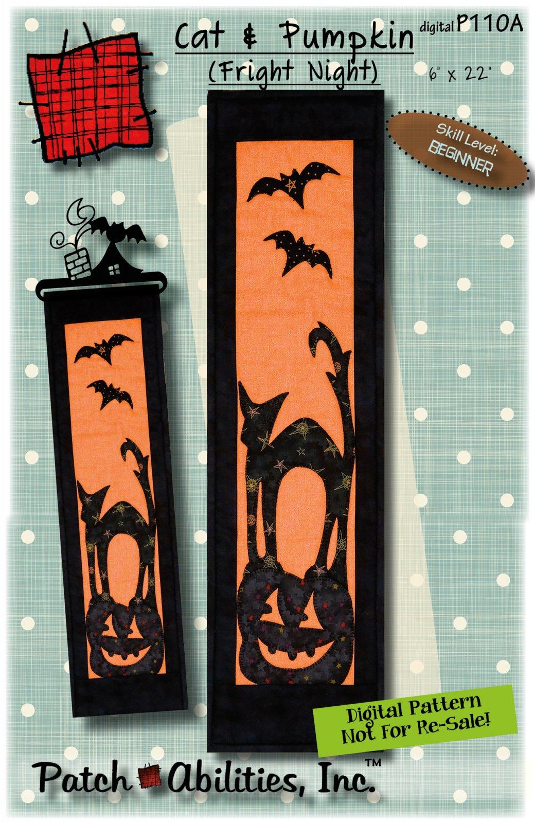 P110A Cat & Pumpkin (Fright Night) DIGITAL DOWNLOAD PATTERN