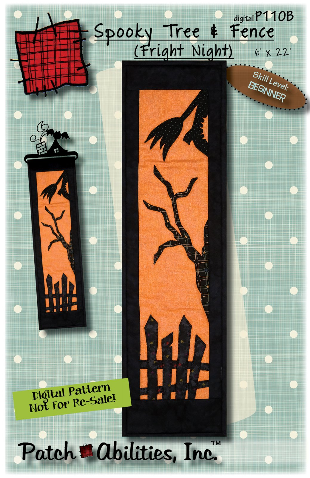P110B Spooky Tree and Fence (Fright Night) DIGITAL DOWNLOAD PATTERN - copy