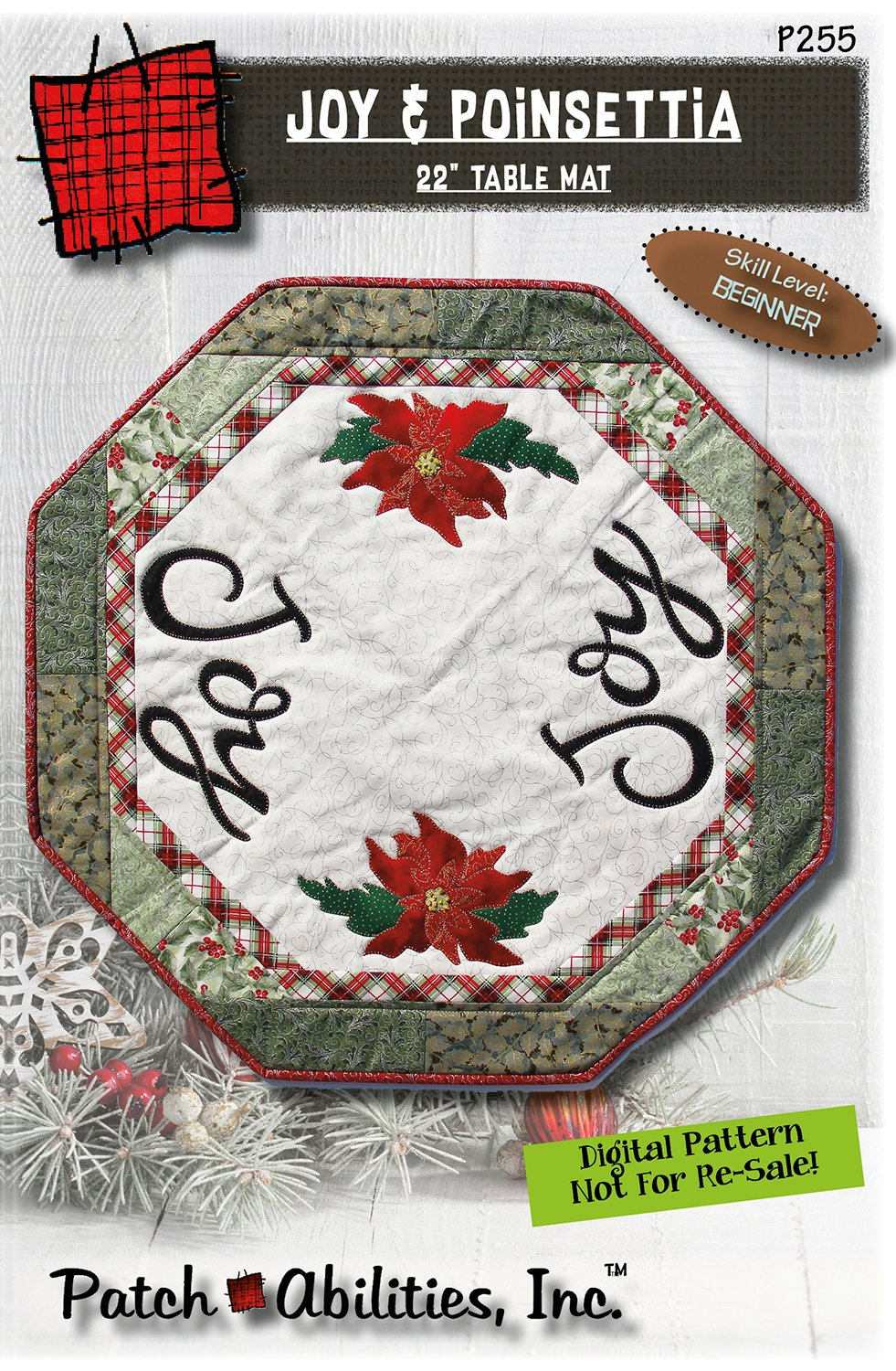 P255 Joy & Poinsettia table centerpiece DIGITAL DOWNLOAD PATTERN