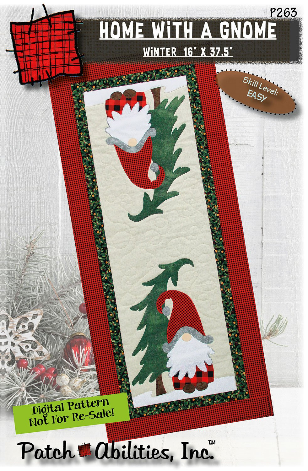 P263 Home With A Gnome Winter Runner DIGITAL DOWNLOAD PATTERN