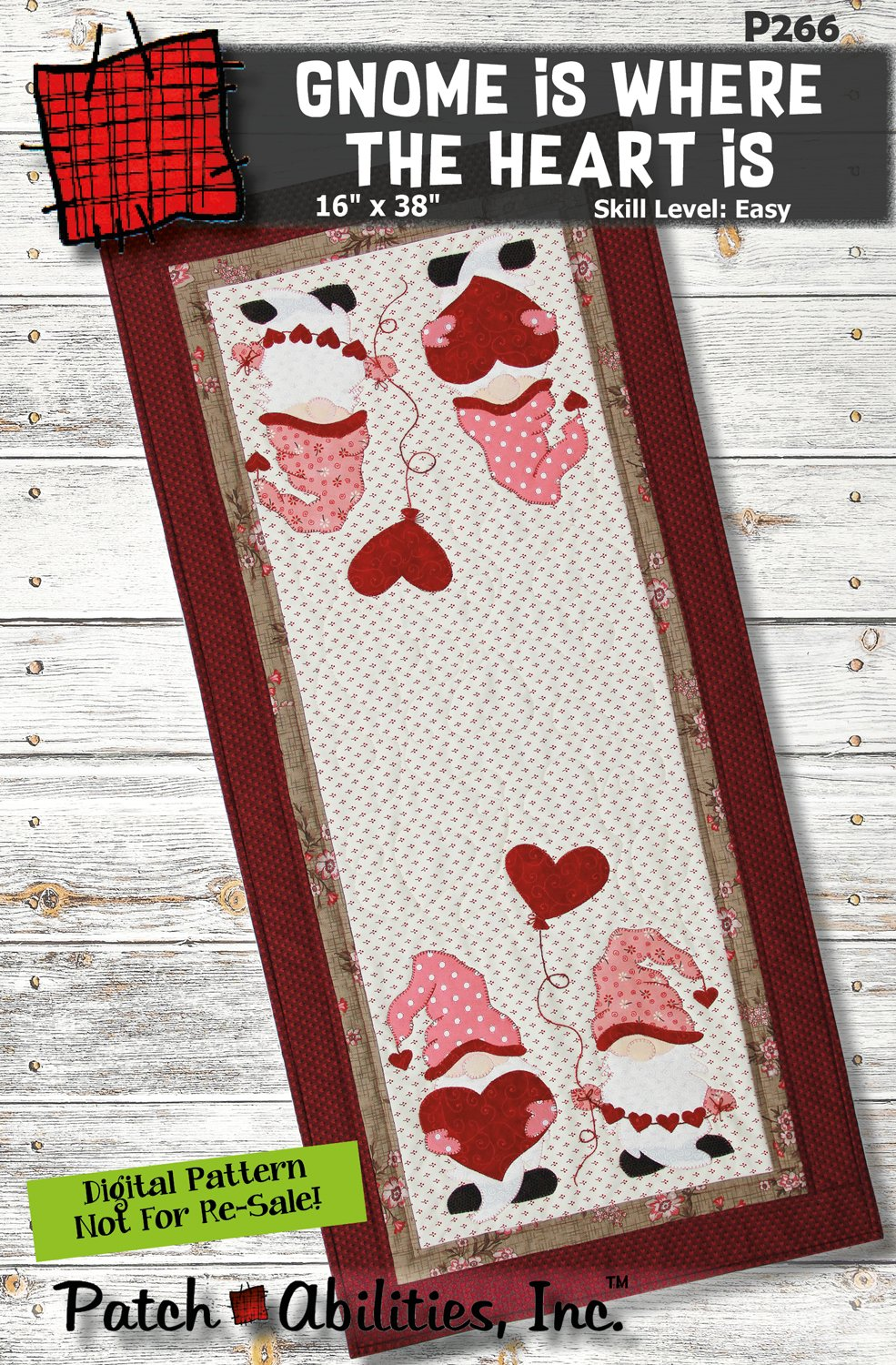 P266 Gnome is Where the Heart is Table Runner - DIGITAL PATTERN